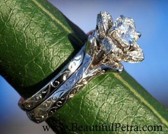 Wedding Set -  UNIQUE Flower Rose Diamond Engagement Ring and Wedding band set Engraving- 1.00 carats - 14K white gold - custom made - fL09