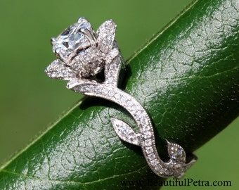 BLOOMING Work Of Art - Platinum Flower Rose Lotus Diamond Engagement Ring - Leaf - Beautiful Petra - Beauty - Flower - Vine - leaves - fL07