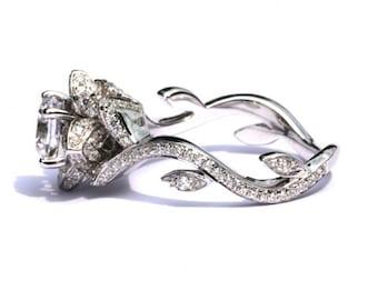blooming work of art beautiful flower rose lotus diamond engagement ring setting semi mount 103 carat 14k fl07 patented design - Lotus Wedding Ring