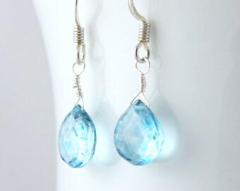 Blue Quartz Teardrop Earrings in Silver