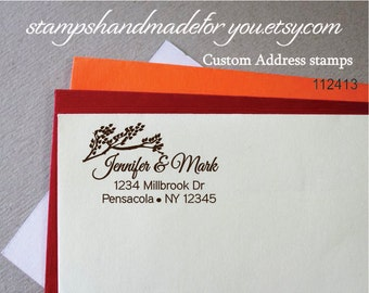 Custom return address rubber stamp branch nature custom colors