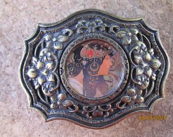 Alphonse Mucha, Large Pewter, Womens belt buckle. No belt. Art Nouveau style.