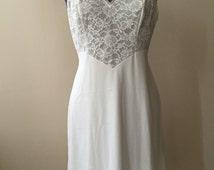 Vintage 1960s Silky White Nylon Lace Bodice Full Slip - 36 short