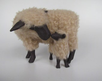 Porcelain Woolly Sheep Figure, English Oxford Sheep Over Lamb