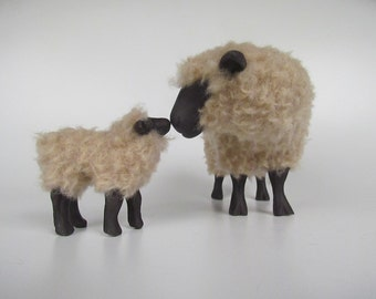 Porcelain Woolly Sheep Figure, English Oxford Sheep Nose to Nose With Lamb