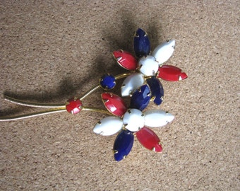 Vintage Red white blue bead flower brooch flower pin
