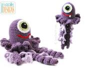 PATTERN Peanut Butter the Jellyfish Monster - Animal Toy Crochet PDF Pattern