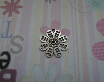 10pcs antique silver flower findings 22mmx24mm