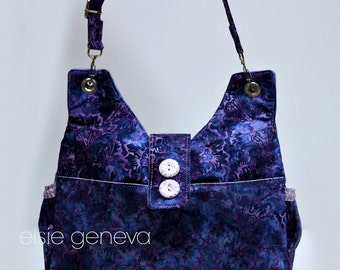 Batik Cargo Purse Blue and Purple Floral Hand Bag Tote with Elastic Exterior Pockets Cross Body or Choose Any Fabric in My Shop