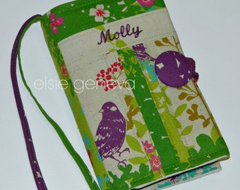 Made to Fit Natural Purple Green Japanese Linen Wish Bird Bible Cover Personalized or Monogrammed Optional Handles and Sewn in Zipper Pocket