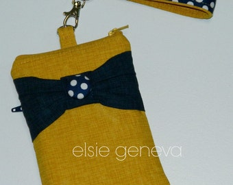 Yellow Phone Case Navy Blue Dots Bow iPhone 6 with Wristlet 5 6 Plus Note Large Smartphone  Choose Any Fabric in Shop Ready to Ship
