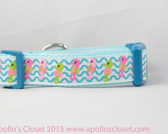 Seahorse Wave Dog Collar, 1 inch wide, buckle or martingale, nautical, sea, water, seahorses, beach, summer, blue, ocean, lime