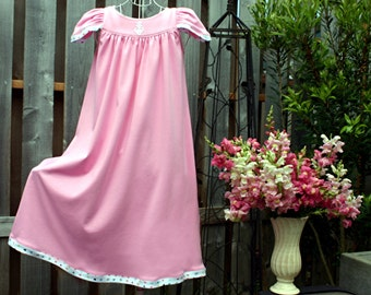 FREE SHIPPING /Size 8-girls/Pink 100% Cotton Knit Nightgown / Flutter Sleeves // Ready to Ship //  Quality Mid-Heavy Knit Fabric (11 oz)