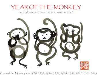 year of the monkey poster three wise monkeys speak no hear no see - Chinese New Year Year Of The Monkey