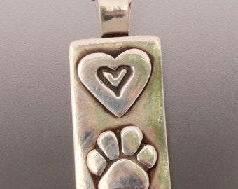 Dog Paw and Heart Pendant - Dog Paw - Dog Paw Jewelry - Paw Jewelry - Dog Jewelry - Animal Jewelry - Dog Lovers Jewelry - Hearts