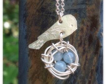 Bird's Nest Aquamarine Necklace