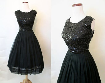 "Classic 1950's XL ""Little Black"" Cocktail Party Dress with Sequin Bodice Rockabilly VLV Pinup Girl Vixen Size-X-Large"