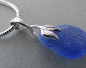 Blue Beach Glass Pendant, Sea Glass Pendant, Blue Sea Glass Jewelry