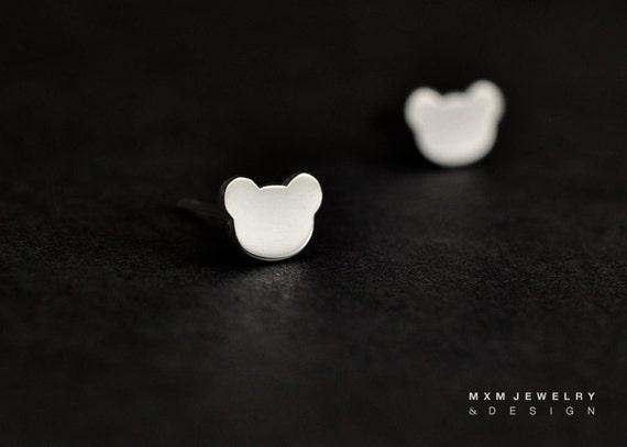Sterling Silver Little Bear Stud Earrings