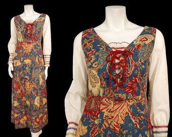 Vintage 70s Hippie Maxi Dress sz S by Morton Williams Dutch Tulips Sunflowers Smocking Tapestry Blue Gold Red Laces
