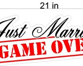 Just Married Game Over Wedding Static Cling Window Decals Removable and Reusable Wedding Clings Car Decorations