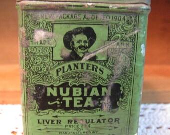 "Rare Vintage Tin  Planter's ""Nubian Tea"" 1900s Medicinal Patent Medicine - Liver Regulator"