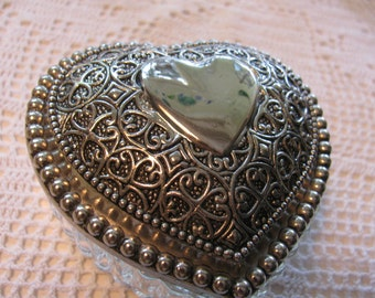 Trinket Box  Heart Shaped - Beautiful  in Glass and Silver Plate