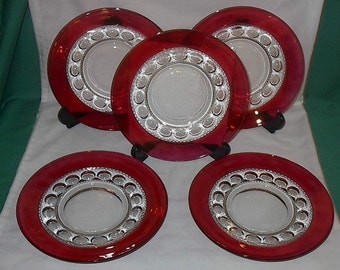 "Cranberry Flashed King's Crown 8&1/4"" plates set of 5 by Indiana Glass Co. 1970s"