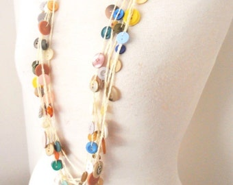 vintage button bead necklace cotton crochet multistrand multicolor long button necklace