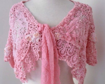 Shabby chic cotton lace wedding wrap, boho  recycled vintage lace collar, hand dyed lace capelet mini wrap,