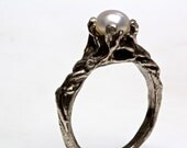 Pearl ring Sterling Silver or 14k Gold tree branch NYC Blue Bayer Design