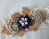 Purple & BURLAP Wedding Garter Set, Ivory Lace Bridal Garters, Shabby Vintage Garter, Country, Rustic, Barnyard Wedding