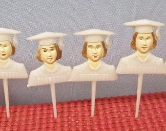 6 Girl Graduate Cake Topper  Cupcake Picks  White Cap & Gown Party Decorations Flat Hard Plastic Painted Features Kitchen Tested Condition