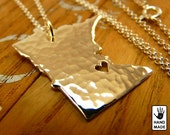 Minnesota State Map Handmade Personalized Hammered Fine Silver .999 Necklace in a gift box