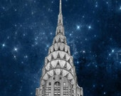 Chrysler Building and Stars New York City Print, Navy Blue Silver, New York Photography, NYC Art Deco