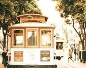 San Francisco Art, Cable Car, Gold, Beige, Green, Retro, Modern, San Francisco Photography, SF Wall Art