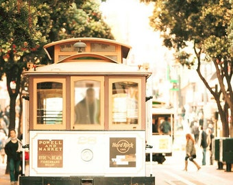 San Francisco Art, Cable Car, Gold, Beige, Green, Neutral, Rustic, San Francisco Prints, Vintage, Retro