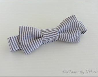 Preppy bow tie collection. Faded black and white stripes,  seersucker fabric  0-10 yrs. size available