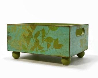 Storage bin, botanical garden green design, recipe card holder, index card holder, decorative box, home accent, kitchen decor