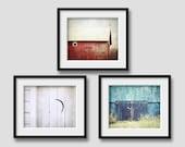 Set of 3 Barn Prints, Rustic Barn Photographs, Red Barn, White Barn, Blue Barn, Barn Photography, Rustic Americana, Country Farmhouse Decor