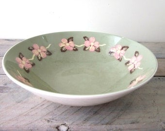 Vintage Ironstone Serving Bowl Carlton Dogwood Green with Pink Flowers