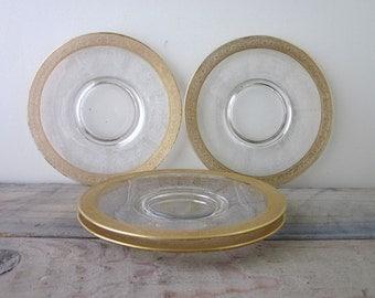 Vintage Glass Etched Dessert Plates with Gold Leaf Trim Set of Four