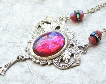 Antiqued silver plated romantic victorian Dragons breath opal stone necklace- SX530