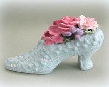 Victorian Shoe Decor Clay Flower Shoe Ornament Floral Shoe Vase Miniature Shoe Figurine Decorative Shoe Ceramic Shoe Mini Shoe Vanity Decor