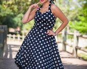 On Sale!!!Classic Black and White Polkadots  Pinup Dress