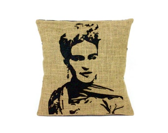 Frida Hand Printed  Pillow Cover 12x12in