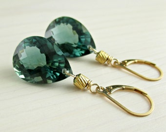 Natural Untreated Green Amethyst Gold Earrings, Prasiolite, AAA Grade, 14k Gold Filled, Forest Green Gemstone, Gold Leverback  Earrings
