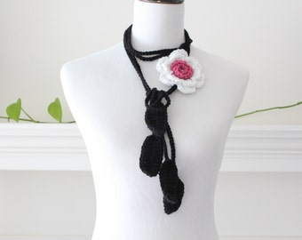 Crochet White Black Lariat Scarf, Necklace, Scarflette