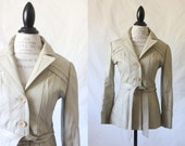 c1970's Bone Leather Belted Trench Coat Sz S