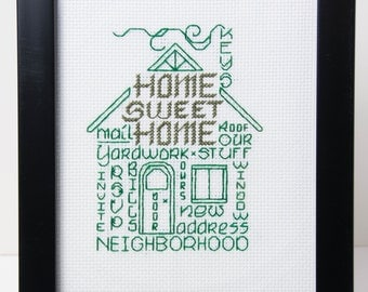 New House  Framed Word Art in Green  Counted Cross Stitch